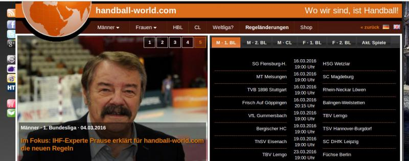 Screenshot handball-world.com